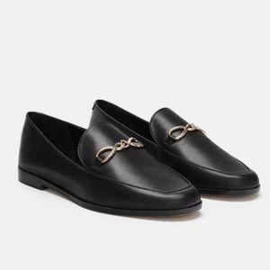 Zara Black Leather Gold Link Slip On Loafers - 7.5